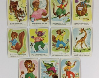 11 Vintage Original 1950s Children Snap Comic Wild Animal Playing Cards