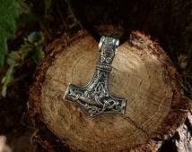 Thor's Hammer Mjolnir Pendant Viking Jewelry Scandinavian Norse Sterling Silver Viking Necklace Viking Mjölnir Amulet (Mammen)