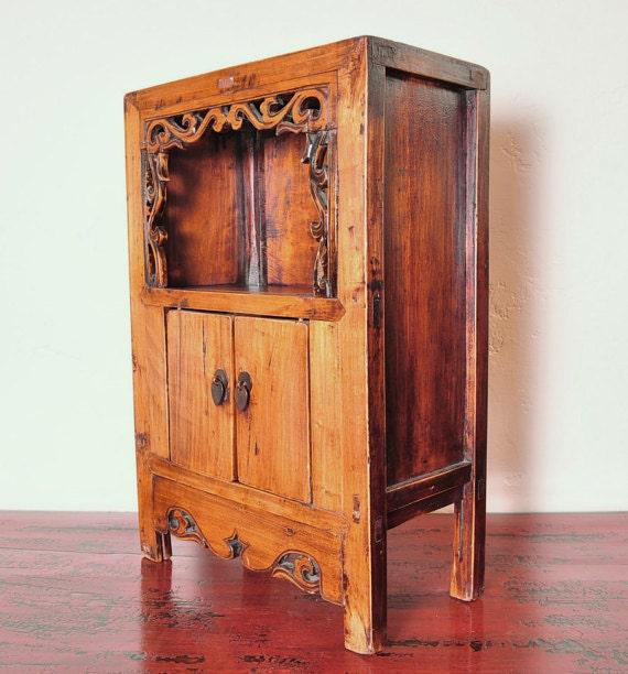 Small Antique Elmwood Shrine Cabinet Vintage By