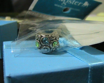 Blue & Green Crystal Silver Pugster European Charm