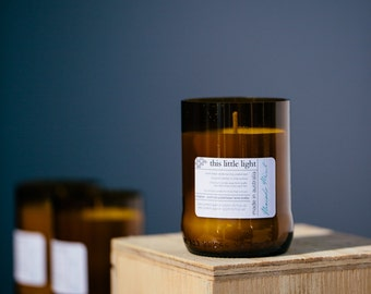 Free Postage Amber Glass Recycled Bottle with scented soy candle
