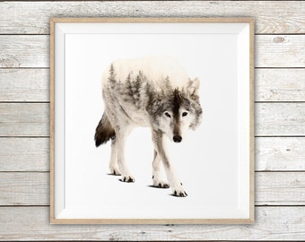 Gray Wolf - Double Exposure - Modern Art Print