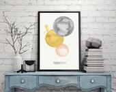 "Abstract Circle Shapes Watercolor Wall Art Printable 24 x 36"" - Texture Scandinavian Decor Pastel Wall Art - Modern Minimalist Poster"