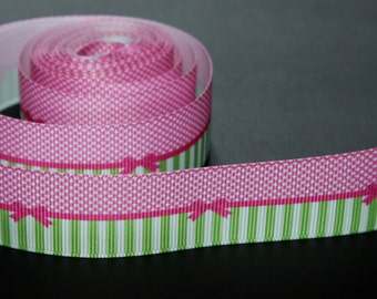 4 m-decorative pink grosgrain Ribbon and bow Green