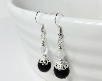 Black Drop Earrings Black Pearl Dangles Black and Crystal Bridesmaid Gift Pretty Crystal Drops Black Wedding Jewelry Little Black Dress