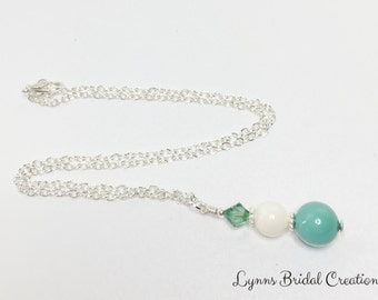 Jade Crystal Pearl Necklace Swarovski Crystal Necklace Pendant Necklace Wedding Necklace Bridesmaid Jewellery Mother of the Bride Gift