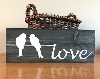 Love Sign (blue) - Wood Wall Decor - Love Decor - Love Birds - Birds on a Wire - Rustic Wall Decor - Farmhouse Decor