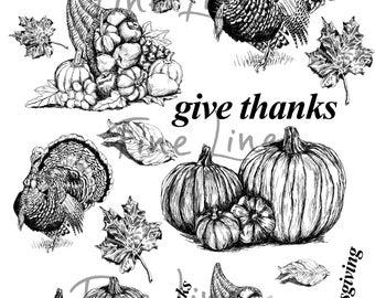 Thanksgiving clipart, Thanksgiving decor, Digital stamps, Thanksgiving symbols, Scrapbooking stemps, Craft supplies, Happy Thanksgiving
