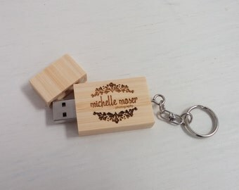 Custom USB Flash Drive | Personalized USB | Wooden USB | Flash Drive Keychain | Personalized Thumb Drive | Geekery Gadget - 4GB or 8GB