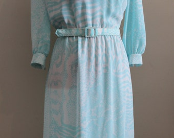Deborah Dress | vintage 1980s belted turquoise and white ascot bow dress