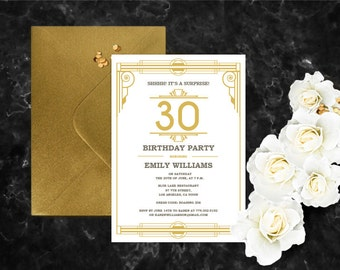 Great Gatsby Birthday Invitation Template. Art Deco Invitation DIY Template.  Roaring 20s Pdf.