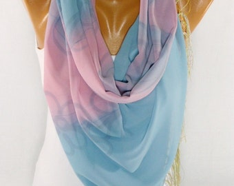 FREE SHIPPING, Lightweight Chiffon Scarf, Flowered scarf, Shawl, Womens Fashion Accessories, Summer Scarf Gifts For Mothers day For chrismas