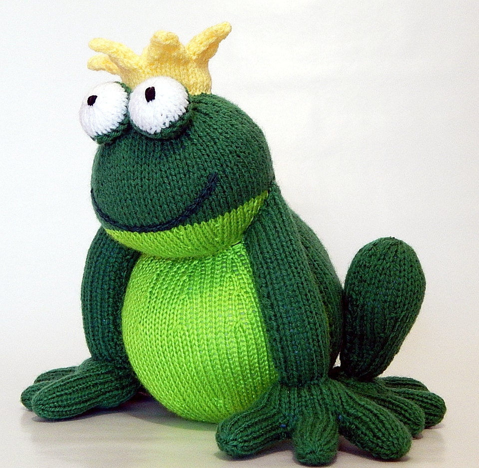 FROG PRINCE hand knitted frog handknitted frog knitted toy