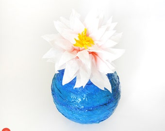 Papier mache sea vase,paper mache sculpture,paper art,blue sea color,summer decor,waves,home decor,recycled art,gift for her,mothers day