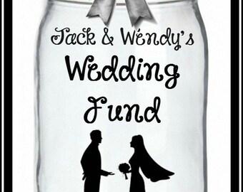 Wedding Fund or Honeymoon Bank, Honeymoon Jar, Wedding Savings Bank, Coin Slot Lid, Vacation Fund, Bridal Shower Gift, Savings Bank
