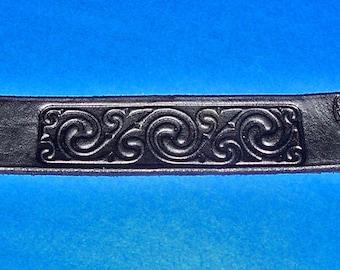 Leather Celtic Spirals Wristband Cuff