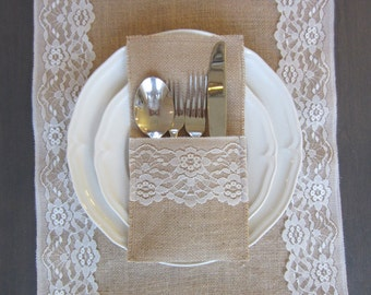 Burlap silverware cutlery holders - Set of 10 - burlap and white lace table setting for weddings