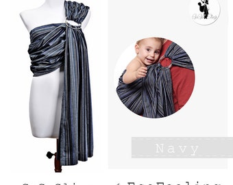 GuGaSling Navy/Baby sling ring/Baby wrap/Baby carrier/Cotton/Old shcool/Gift bag