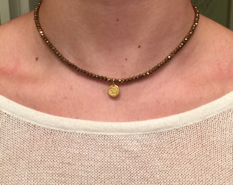 Bronze and Gold Beaded Om Necklace