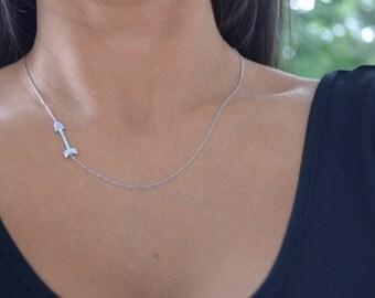 Arrow side silver necklace. Cz arrow silver necklace.