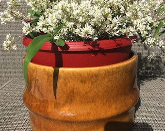 Vintage 1960's Light Brown Haeger Flower Pot Planter