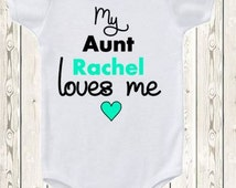 Personalized Aunt ONESIE ® brand bodysuit or shirt My aunt loves me Gift niece nephew pregnancy announcement idea for aunt Custom baby gift