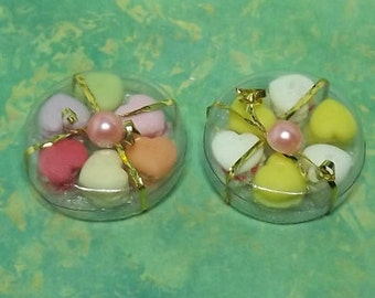 Miniature Dollhouse Macaroon Gift Box. Miniature Dollhouse Handmade Sweets, Cookies, Food. Dollhouse Kitchen, Dining Room  Accessories.