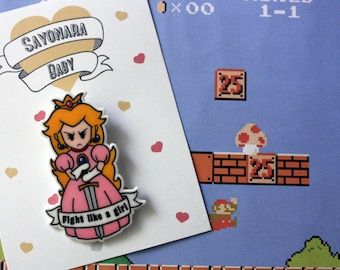 Brooch Warrior Princess Peach, Super Mario Brooch, Shrink Plastic