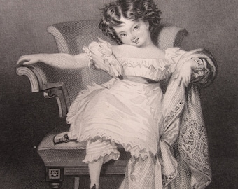 Portrait of a Girl, Antique Engraving, 1836.