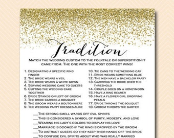 Why do we do that, tradition quiz, bridal shower printable game, Gold Glitter Bridal Shower, Confetti, Bachelorette, Wedding Shower BS88