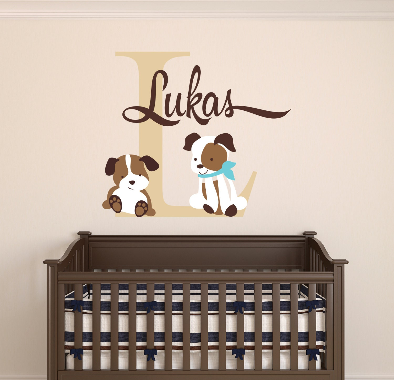 custom name wall decal puppies wall decal nursery wall