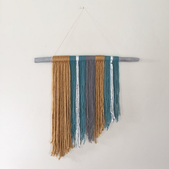 teal and gold driftwood yarn hanging yarn hanging walk. Black Bedroom Furniture Sets. Home Design Ideas