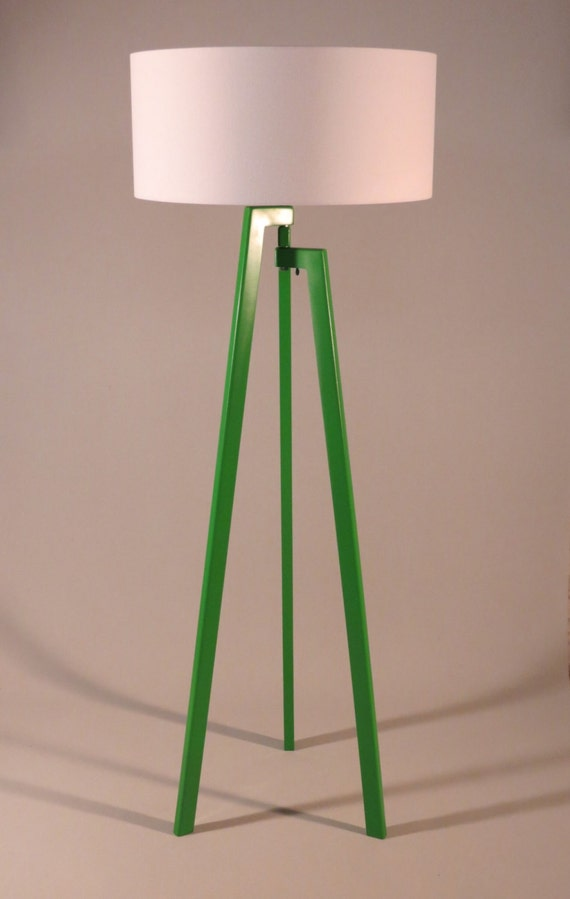 Handmade tripod floor lamp unique wooden stand by dyankoffshop for Wooden floor lamp etsy