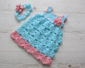 Crochet Pattern  crochet dress pattern, crochet headband pattern Aqua pink baby dress and headband CROCHET PATTERN