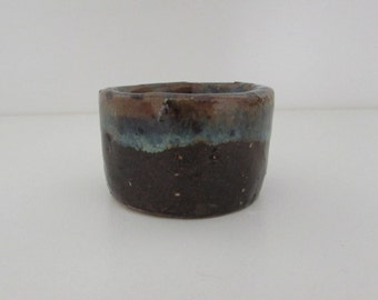 Handmade small pot - green/brown