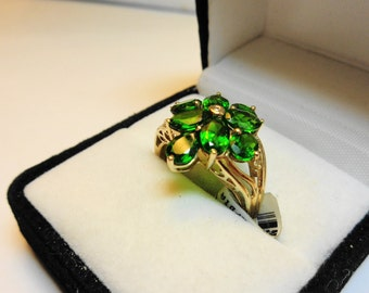 Chrome Diopside Cluster ring