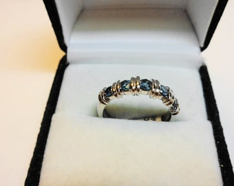 Blue Diamond Ring 14kt.    Set in a 14 Karat White Gold Ring.
