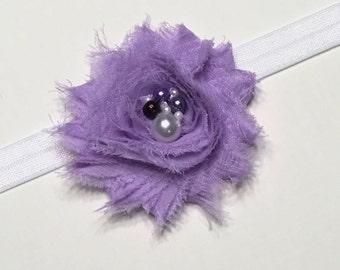 Lavender Headband, Newborn Headband, Baby Girl Headband, Purple Headband, Baby Girl Bow, Shabby Chic Headband, Flower Headband, Baby Gift