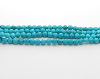 Sinkiang turquoise - Full Strand - 4 mm, Round, Faceted, Dyed, Natural - TURQ-F-R-4-DC