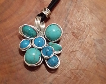 Turquoise Necklace on a Black Rope Cord