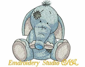 """Machine embroidery design children Elephant """"Toots"""" of series """"Old Toy (two sizes) - elephant - kids design - embroidery for baby - toy"""
