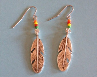 Silver Feather Charm Earrings, Beaded Feather Earrings, Boho Feather Earrings, handmade feather earrings
