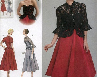 FREE US SHIP Vintage 50's Sewing Pattern Simplicity 1250 Retro 1950's Dress Jacket Bodice Overlay Old Store Stock Uncut Size 6/14 14/22
