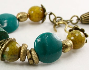 Turquoise African glass brass and agate bracelet