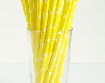 25 Yellow Star Paper Straws- Perfect for Lemonade Stands, Yellow-Themed Birthday Parties, Gender Neutral Baby Showers, and More!