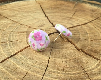 Light Pink floral fabric button earrings