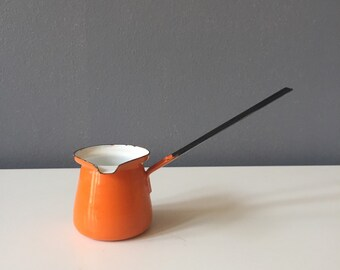 Vintage Mid Century Modern 70s Bright Orange Enamel Turkish Coffee Pot Made in Poland