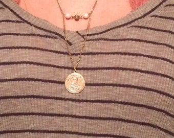 Gold Coin + Pearl & Chain Necklace