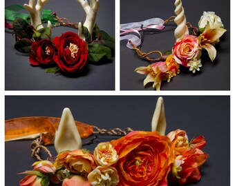 2 Piece Set: Flower Crown with Antlers, Unicorn Horn, or Faun Ears