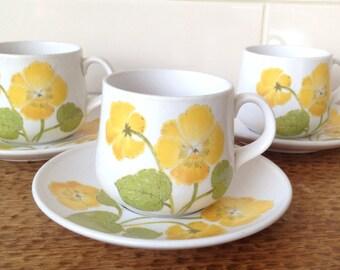 Retro Noritake tea cups and saucers 'Flower Time', three pairs.